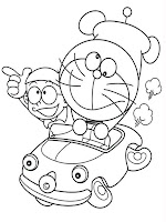 Nobita and Doraemon Riding Car Coloring Pages