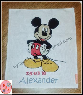 Natalicio. Lienzo dibujo punto de cruz. Mickey Mouse
