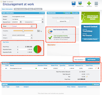 Screenshot Detailansicht Deal in RAYNET Cloud CRM