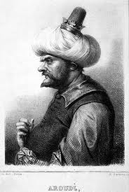 'Baba Aruj', litografía de Charles Motte sobre dibujo de Achille Deveria, tomado de Wikipedia