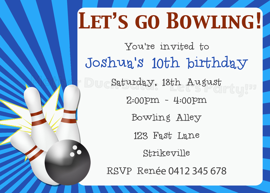 ten pin bowling birthday party invitation ten pin bowling happy