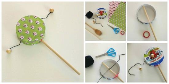 Instrumentos musicales caseros tambor bolas