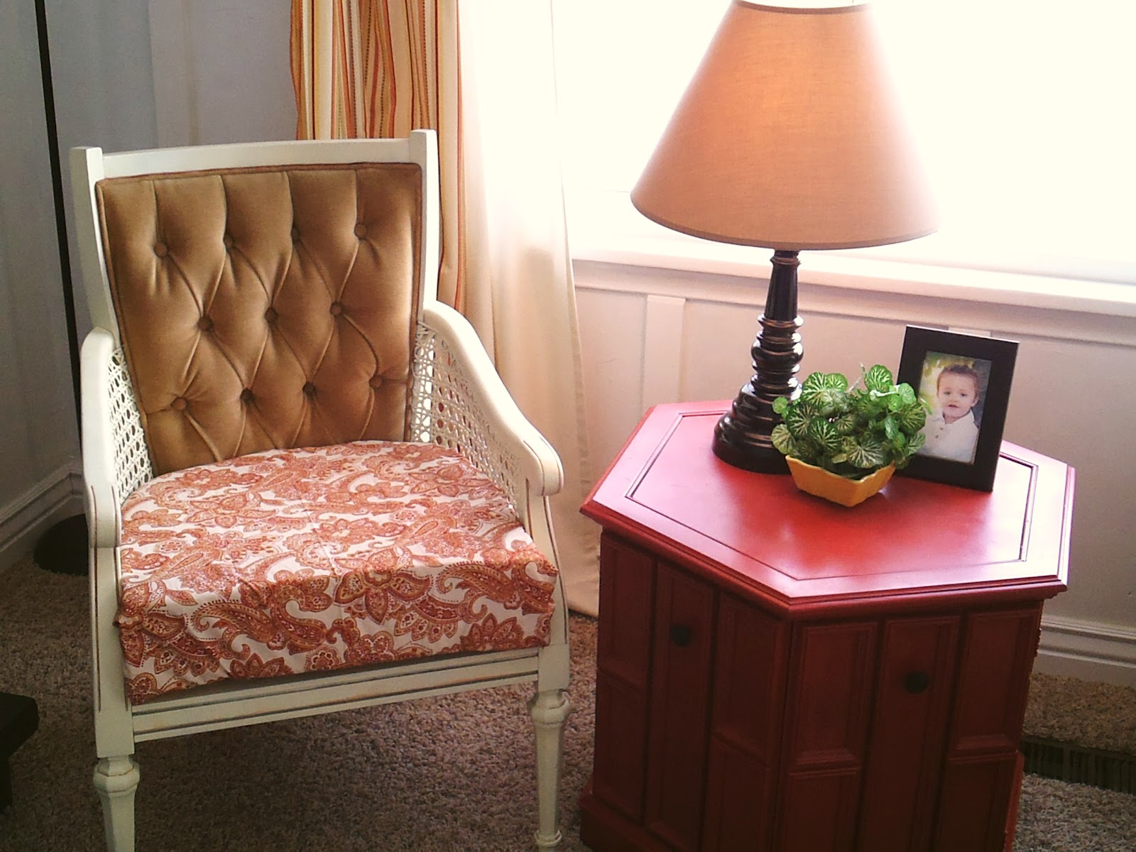 Pearls Pinstripes Peanut Butter Spray Painted Furniture
