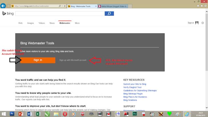 Cara Daftar Bing Webmaster Tools