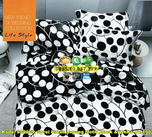 Sprei Katun Jepang Motif Black & White Uk.100x200x
