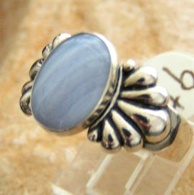 Natural Blue Lace Agate Sterling Silver Ring Southwest Spirit Made in the USA