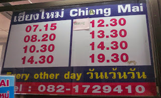 Sukhothai to Chiang Mai bus schedule