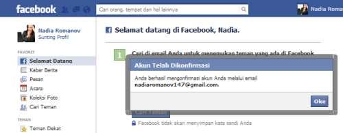 proses mendaftar dan membuat akun facebook sudah selesai