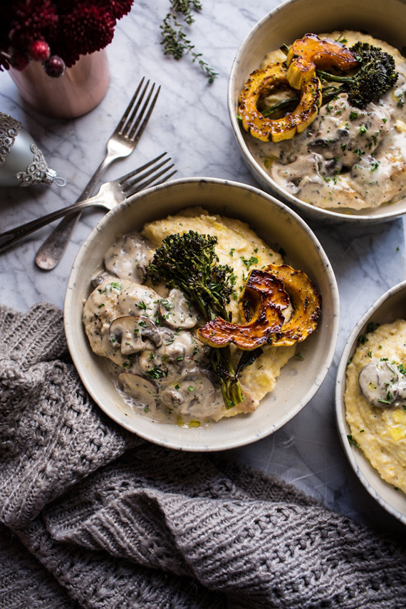 45-Minute Truffled Mushroom Chicken with Polenta and Roasted Broccolini by Half Baked Harvest