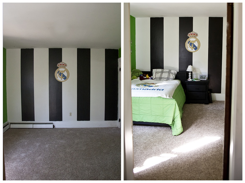 Rachelle chase blog my boys soccer bedroom before and after for Soccer bedroom designs