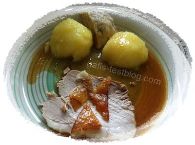 Schweinbraten mit Kruste, Knödel und Soße
