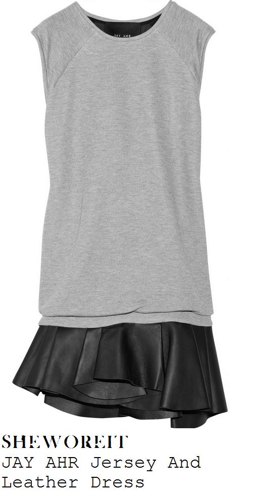 cheryl-cole-light-grey-jersey-sweatshirt-and-black-pleated-leather-sleeveless-drop-waist-mini-dress