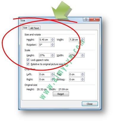 Gambar: dialog Size untuk mengatur image, gambar atau foto, dengan ukuran yang lebih tepat (presisi) di Microsoft Word