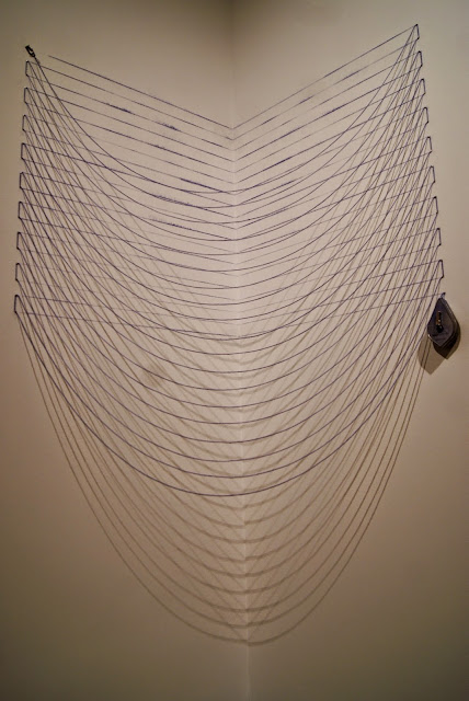 Kristiina Lahde: Ultra-Parallel Exhibit at Koffler Art Gallery in Toronto, exhibition, artmatters, Youngplace, Culture, measurment, yardsticks, tape, math, numbers, the purple scarf, melanieps, ontario, canada, string and a box