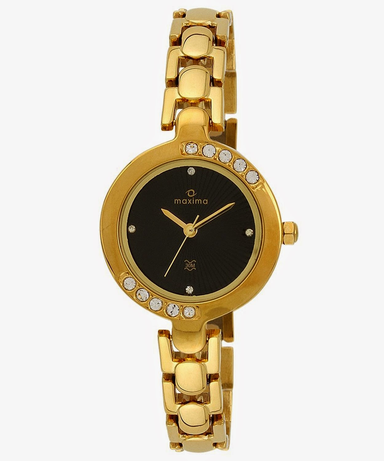 Buy Maxima Swarovski Gold Analog Black Dial Women's Watch for Rs.899 at Amazon.