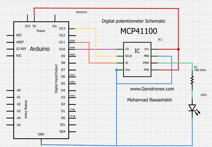 Цифровой потенциометр arduino схема подключения5