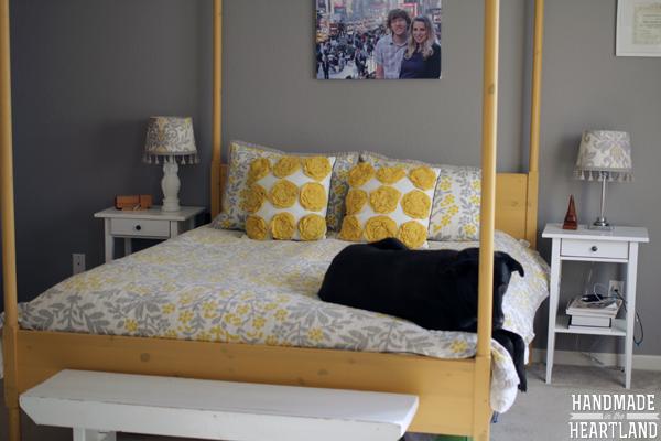 Yellow & Gray Bedroom #HerHealth #shop