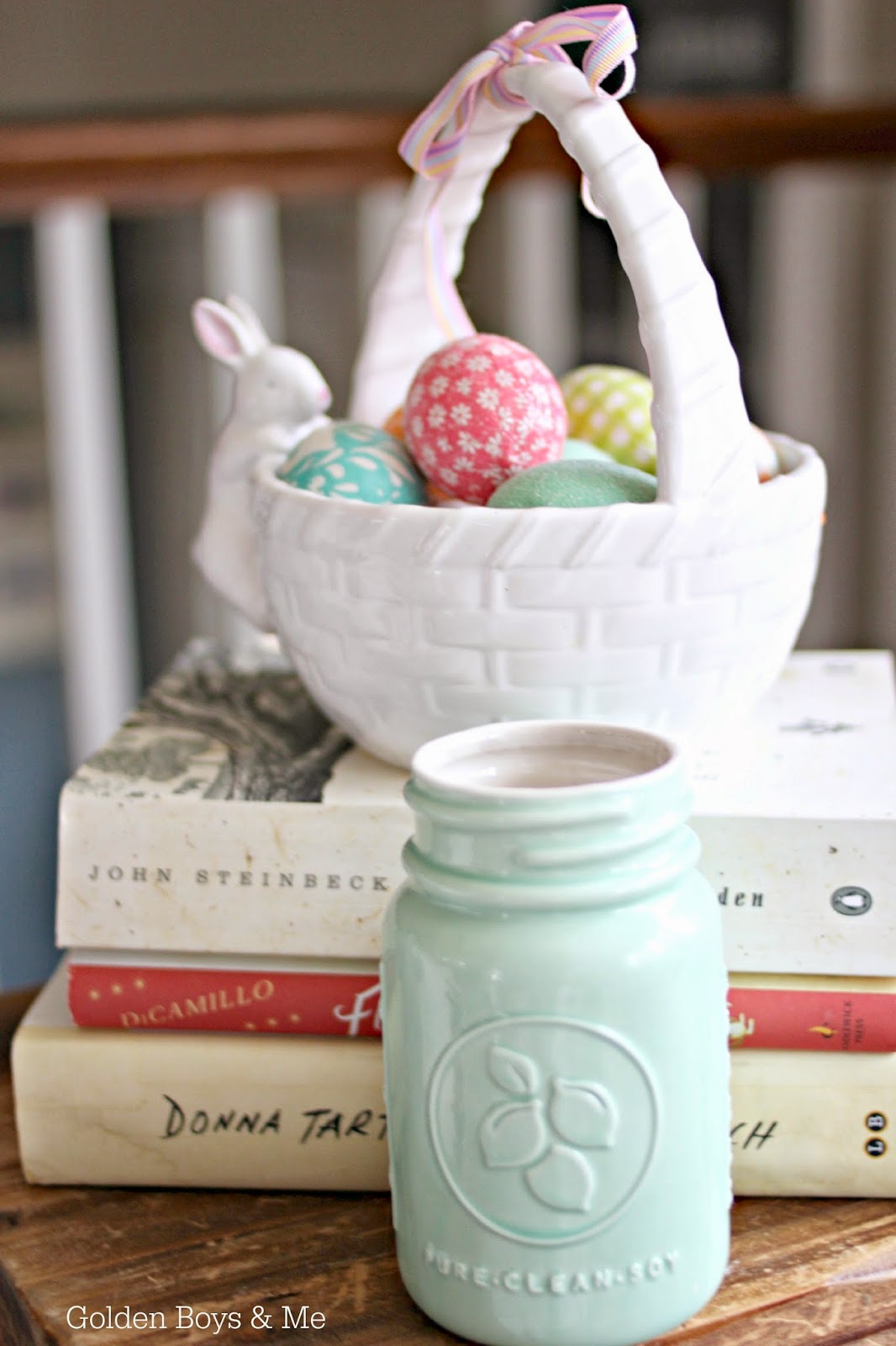 Target soy candle Pomelo Lime in mason jar and ceramic easter basket || www.goldenboysandme.com