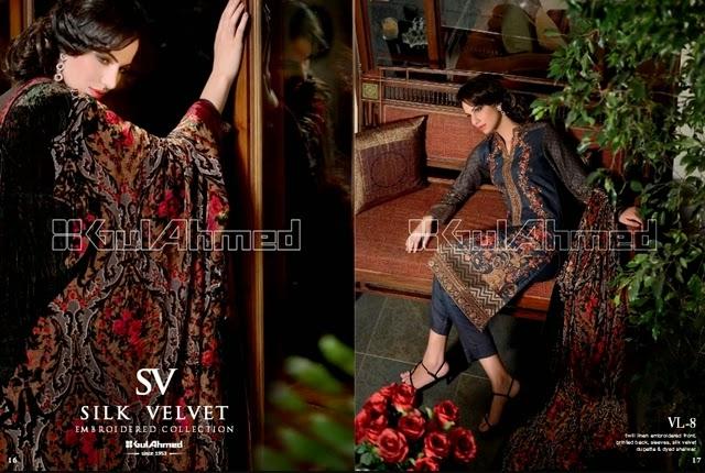 GulAhmed Silk Velvet Collection 2014-15