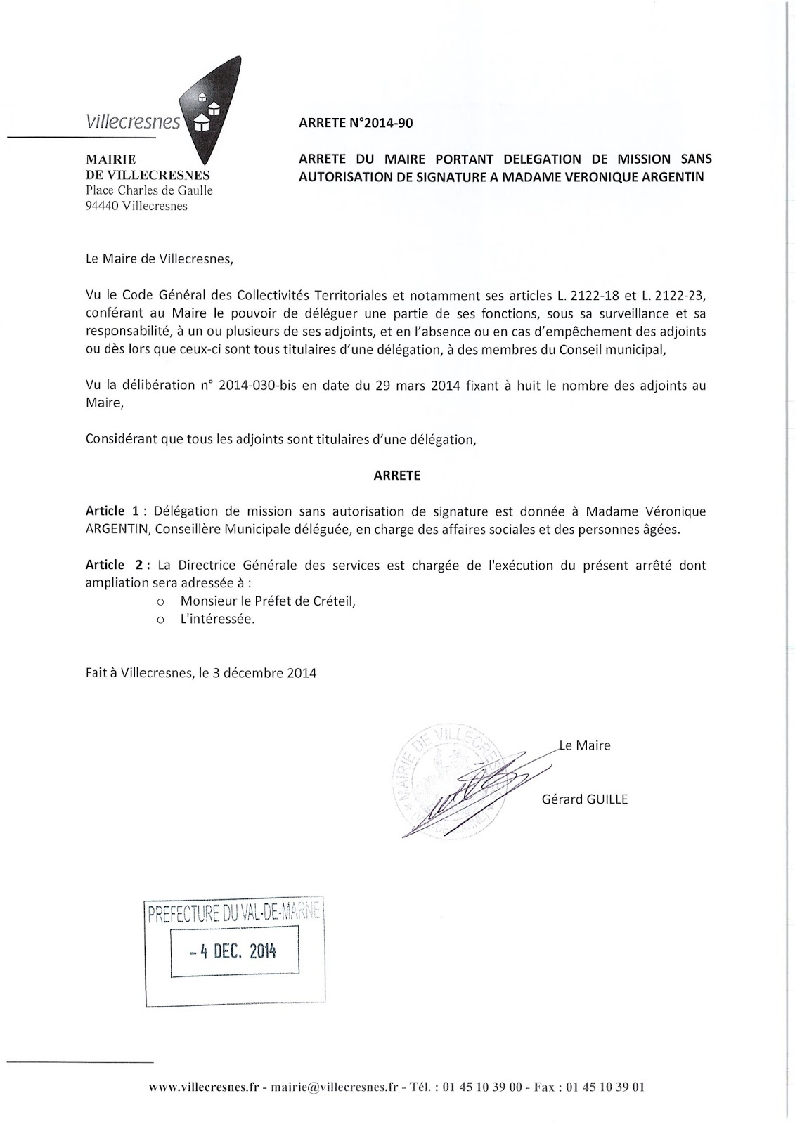 2014-090 Délégation de fonction mission sans autorisation de signature à Madame Véronique Argentin