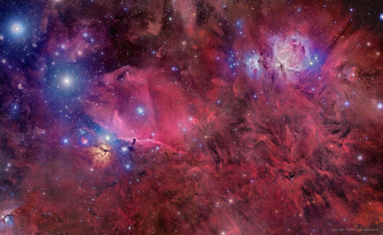 Orion cùng những đám bụi, khí và những ngôi sao. Bản quyền hình ảnh : Roberto Colombari, Robert Gendler & Federico Pelliccia; Dữ liệu : DSS PLOSS II.