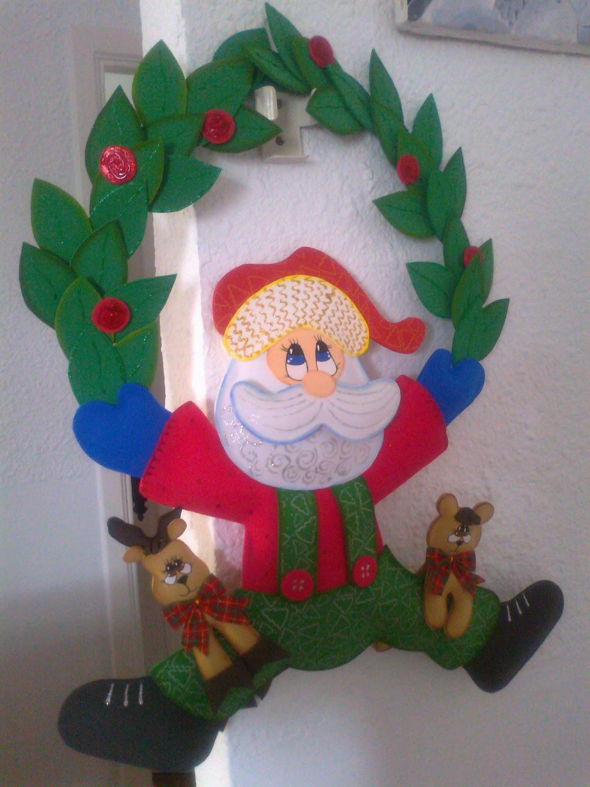 Manualidades Gavimar Corona De Navidad Papa Noel - Manualidades-navideas-papa-noel