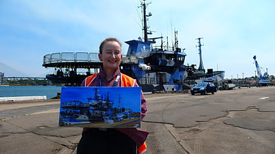 Jane Bennett industrial heritage artist painting the Sea Shepherd's 'Bob Barker' at White Bay Wharf en plein air
