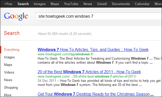 The site: operator for Site Search - example, site:howtogeek.com windows 7