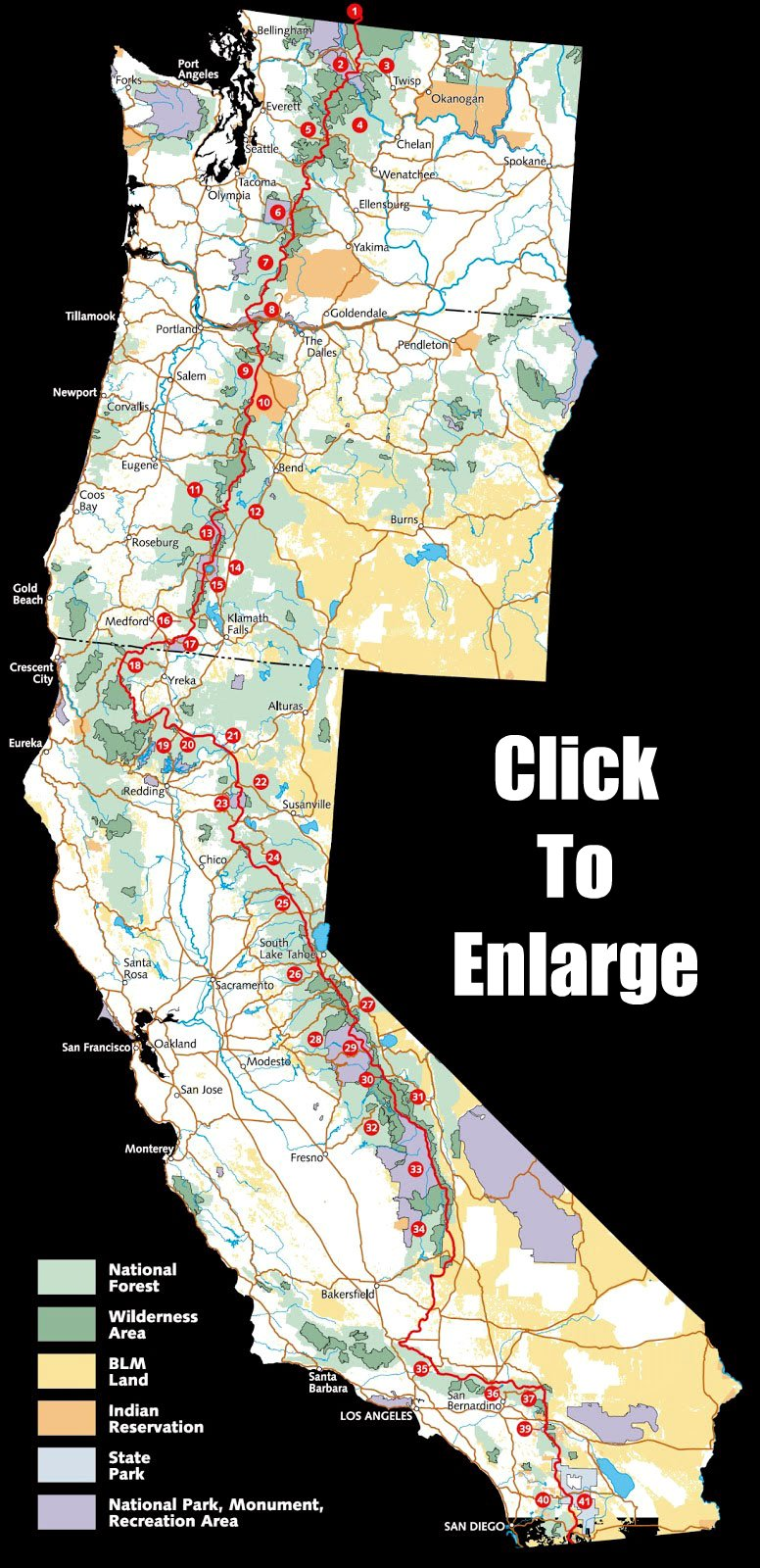 Map To The Pacific Crest Trail