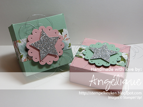 http://stempelkeuken.blogspot.com Birthday Bouquet DSP, Stampin' Up!, Star Punch, Mint Macaron, Blushing Bride