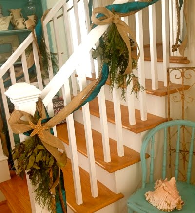 decorative rope on Christmas banister