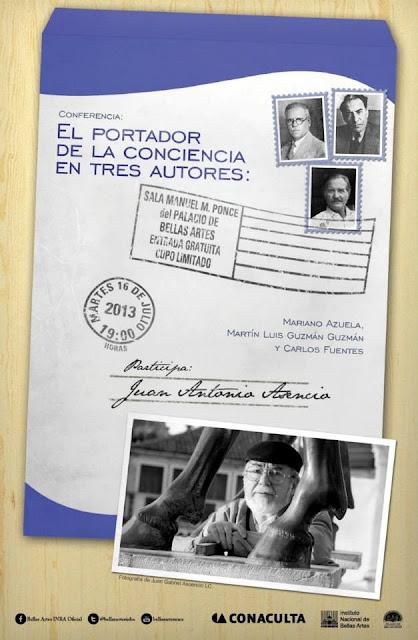 Conferencia para hablar sobre Mariano Azuela, Martín Luis Guzmán y Carlos Fuentes en Bellas Artes