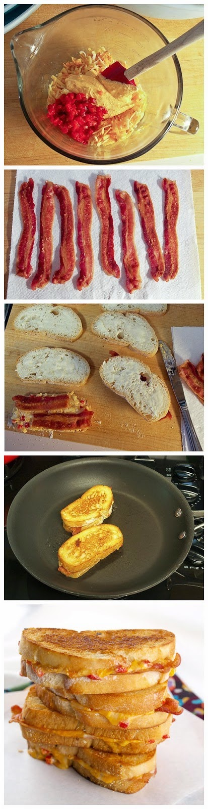 Four-Cheese Grilled Pimento Cheese and Bacon Sandwiches