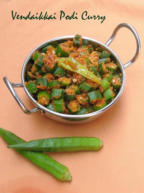 Okra podi curry, bhindi curry, Vendaikkai Podi curry