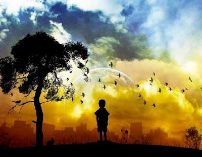 Enfant contemplant un paysage onirique au-dessus d'une ville grise et polluée