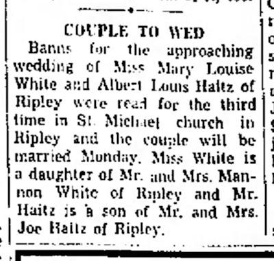 Haitz White Marriage Banns
