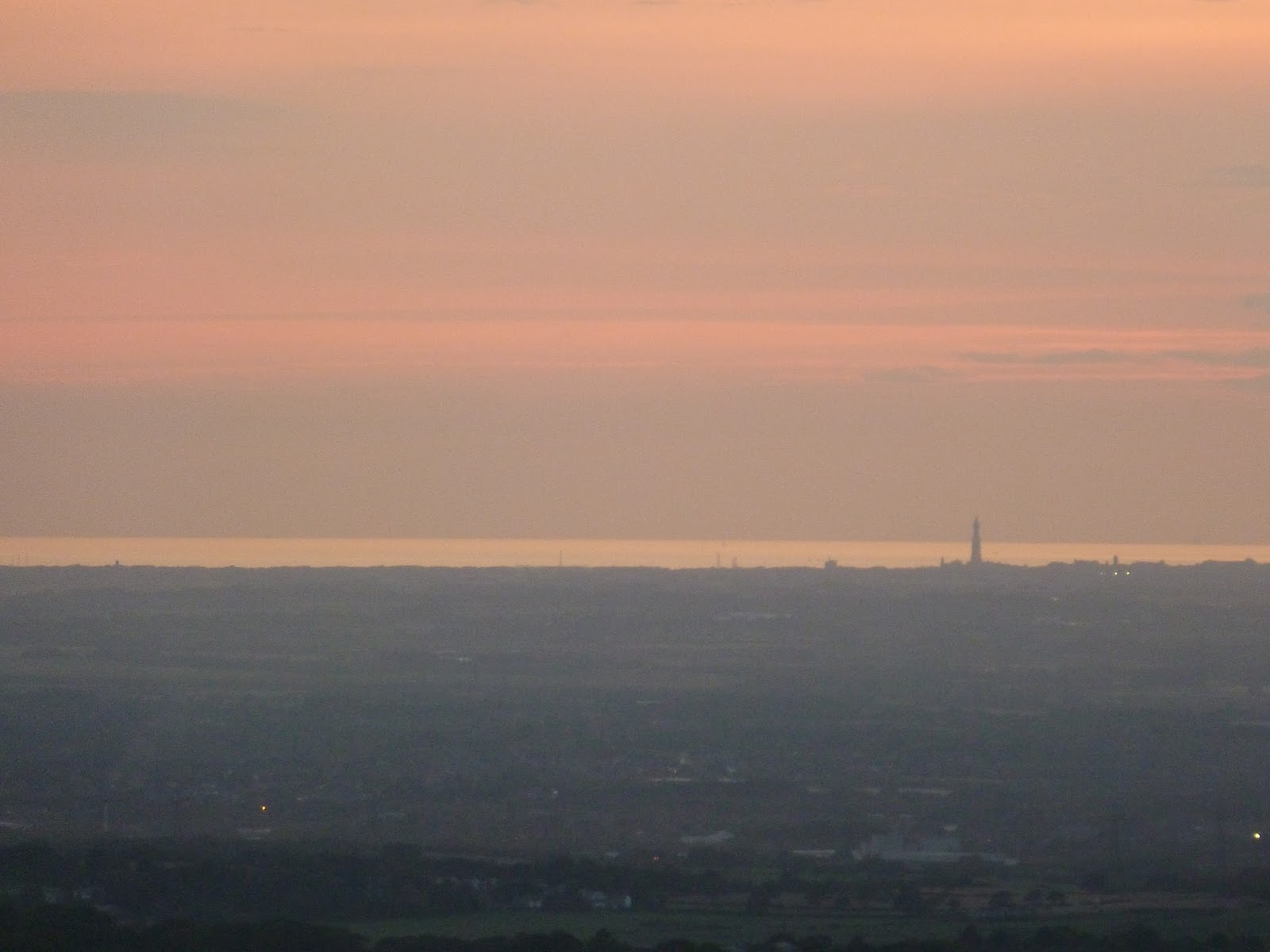 sunset and view of blackpool tower from the distance