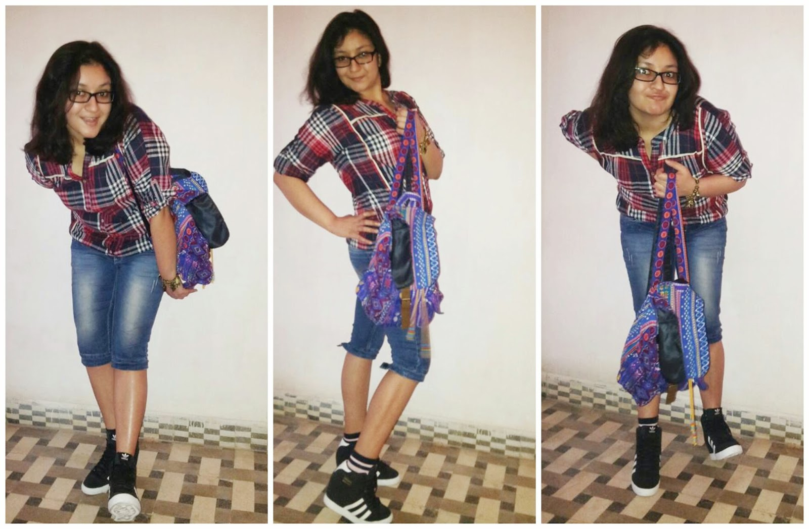 College look, how to style check shirt, College fashion, adidas sneakers, colorful backpack, capris