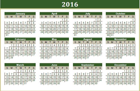 2016 Islamic Printable Calendar - UAE, Pakistan, Saudi Arabia