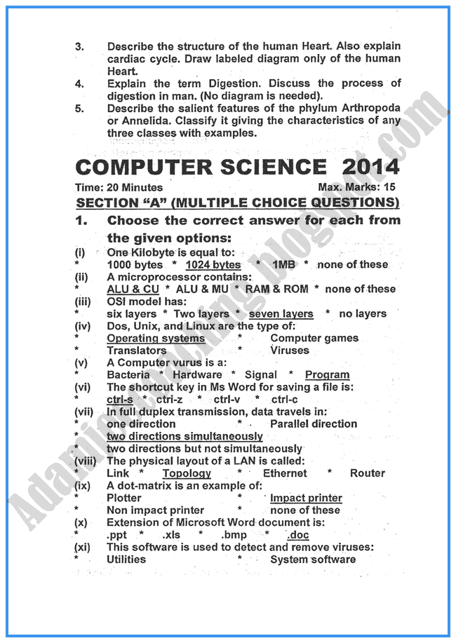 Computer-science-2014-past-year-paper-class-xi
