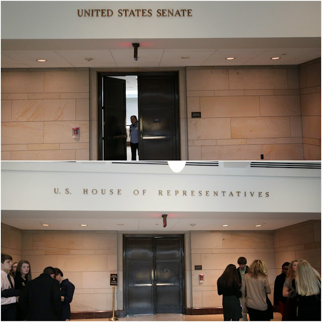 Visiting the meeting halls of United States Senate and House of Representatives at United States Capitol in Washington DC, USA
