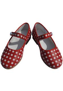 leren rood met witte stippen polka dot Spaanse flamenco schoenen zonder hak