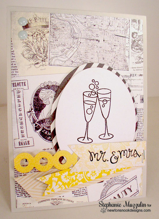 Mr. & Mrs. champagne card by Stephanie Muzzulin | Years of Cheers stamp set by Newton's Nook Designs