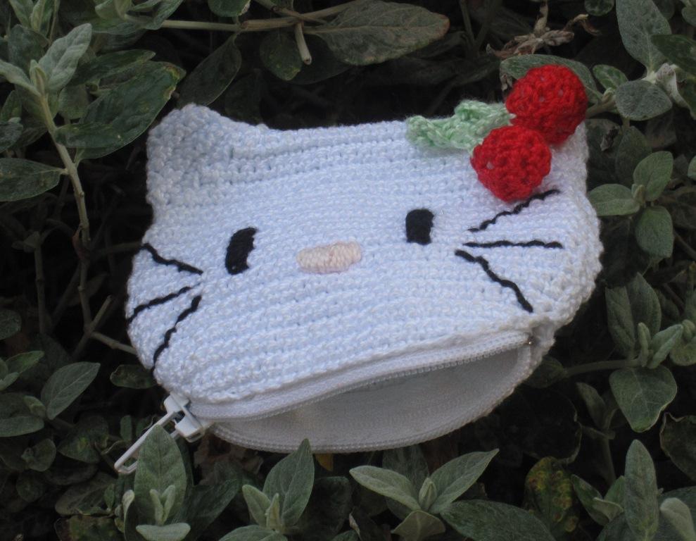 Monedero infantil con cabeza de Hello Kitty (abierto)