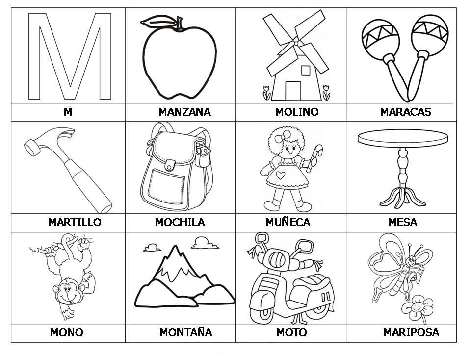 Laminas con dibujos para aprender palabras y colorear con letra: M ...