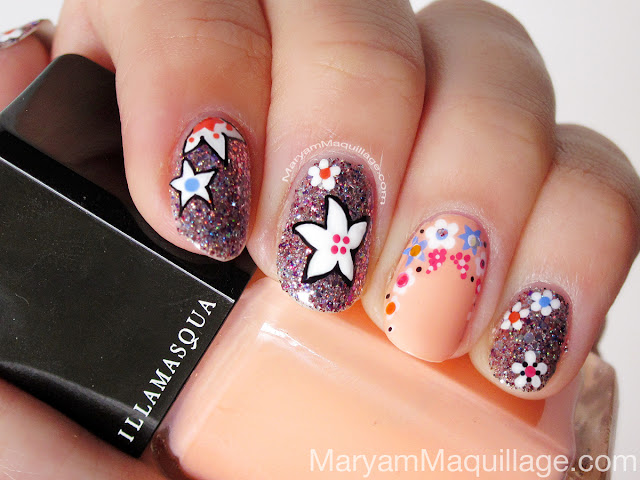 Spring nail designs with glitter : Glitter floral nail art spring nails g