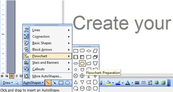 Programming steps how to draw flowchart in word 2003 2007 and 2010 b 2007 ccuart Image collections