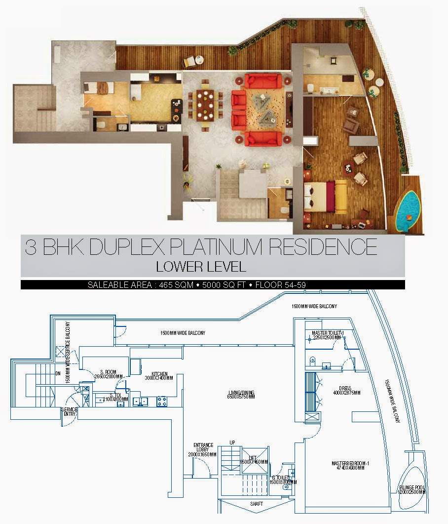 BRYS BUZZ :: Floor Plans 3 BHK Duplex Platinum Lower level