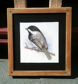 drawing of chickadee in frame for charity auction