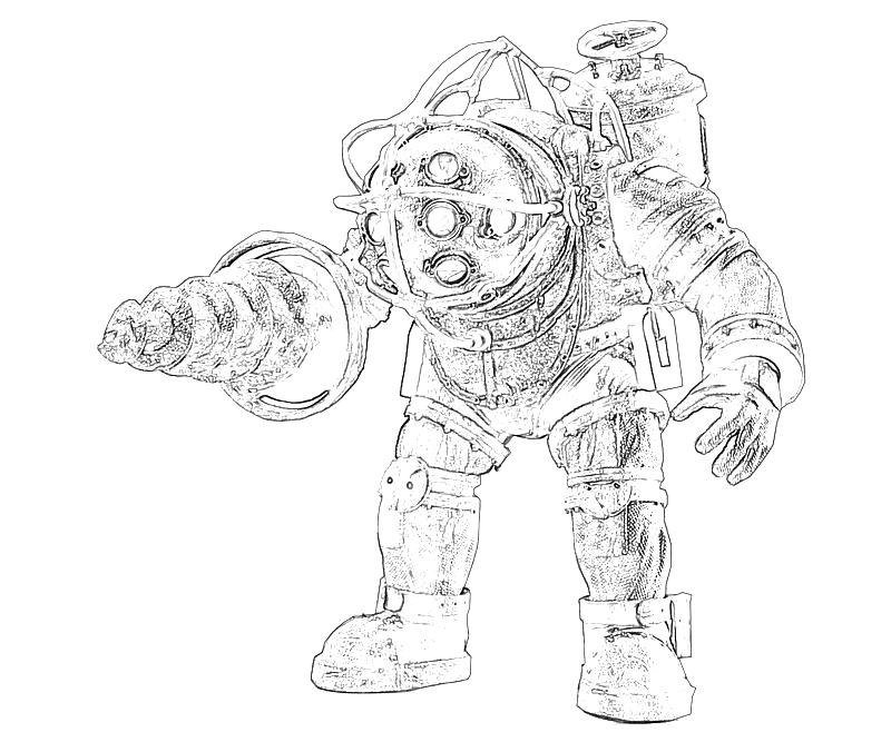 bioshock big daddy coloring pages BioShock Drawings  Bioshock Coloring Pages